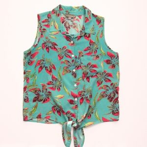 Teal Front Sleeveless Tie Front Tropical Top M